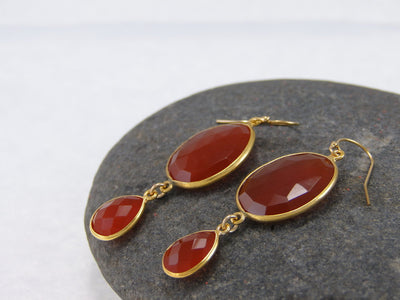 Carnelian Double Drop Earrings - Bezel Earrings - Gemstone Earrings