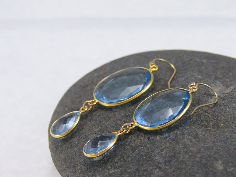 Blue Quartz Earring, Wedding Earring, Bridesmaid Dangling Earring, Blue Double Drop Earring, Bezel Set Earring, Tear drop Gemstone Earring