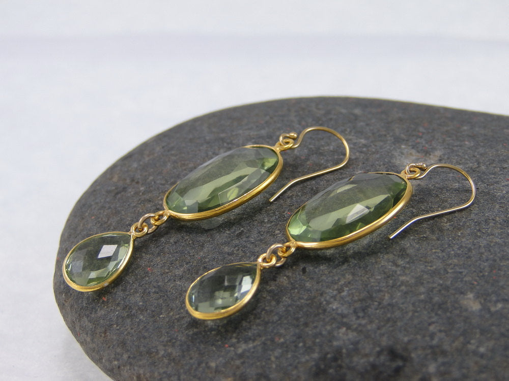Green Peridot Quartz Double Drop Earrings - Bezel Earrings - Gemstone Earrings