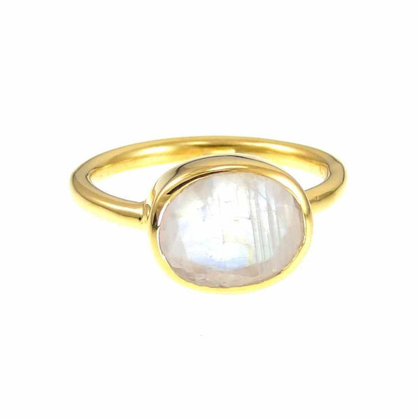 Rainbow Moonstone Ring - Oval Ring - Bezel set ring - June Birthstone Ring - Gemstone Ring - Stacking Ring - Gold Ring - Bridal Jewelry