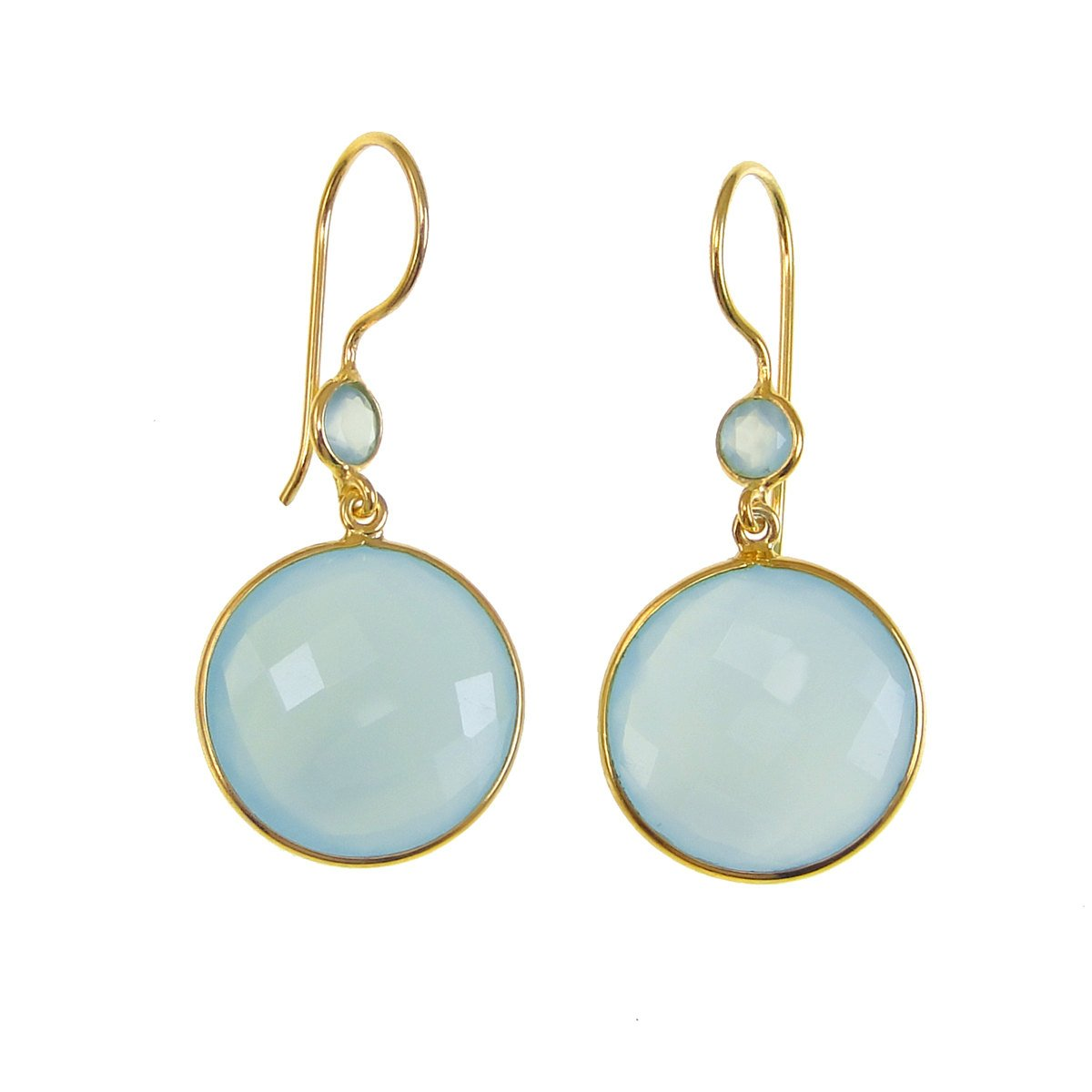 Green Aqua Seafoam Chalcedony Earrings - Gemstone Gold Dangle Drop Earrings