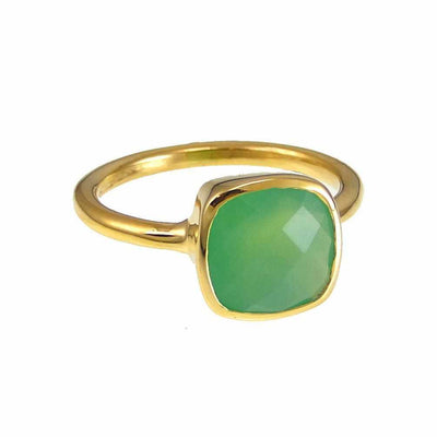 Chrysoprase Ring - Crysoprase Ring - Gold Ring - Cushion Ring - Gemstone Ring - Stackable Ring - Bridesmaid ring