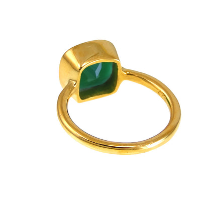 Green Onyx Ring - Green Emerald Ring Onyx - Gold Ring - Cushion Ring - Gemstone Ring - Stackable Ring - Bridesmaid ring