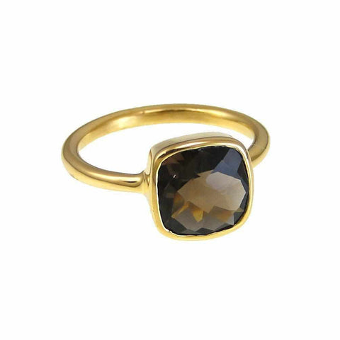 Smoky Quartz Ring - Bezel Set Ring - Gold Ring - Cushion Ring - Gemstone Ring - Stackable Ring - Bridesmaid ring