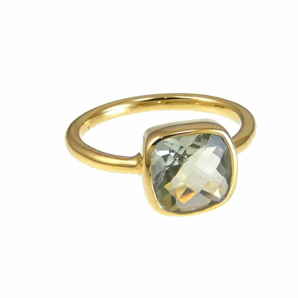Green Amethyst Ring - February Birthstone Ring