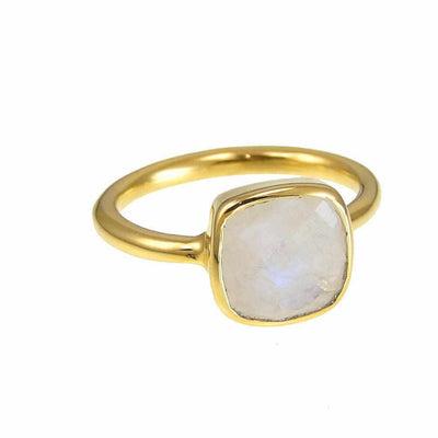 Moonstone Ring - June Birthstone Ring - Gold Ring - Cushion Ring - Gemstone Ring - Stackable Ring - Bridesmaid ring
