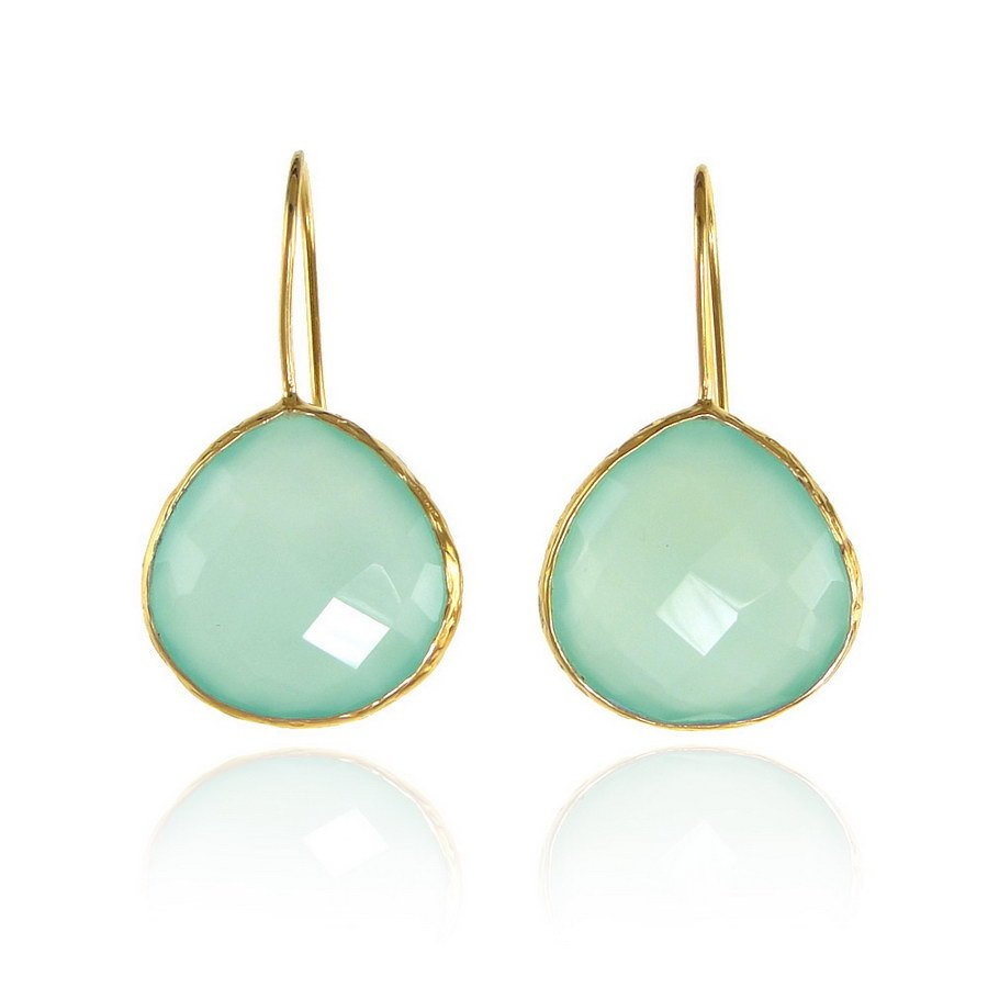 Aqua Chalcedony Earring, Bridesmaid Gift, Bridal Earring, Gold Framed Earring, Mint Green earring, Dangle and drop Statement Earrings