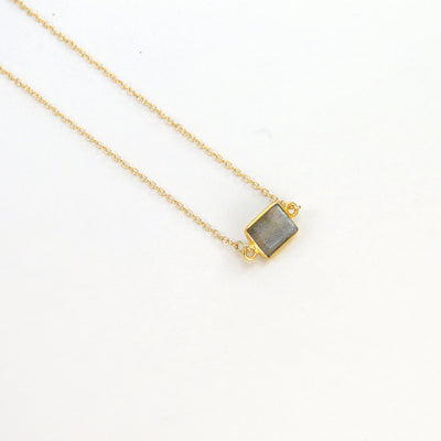 Labradorite Delicate Gemstone Necklace - Tiny Stone Layer Necklace - Faceted Stone Jewelry Necklace - Little Dainty 14K Gold Filled Necklace