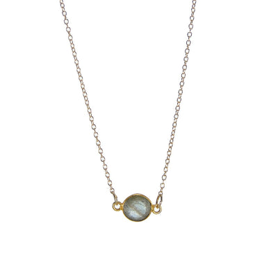 Labradorite Delicate Gem Necklace - Tiny Stone Layered Necklace - Faceted Stone Jewelry Necklace - Little Dainty 14K Gold Filled Necklace