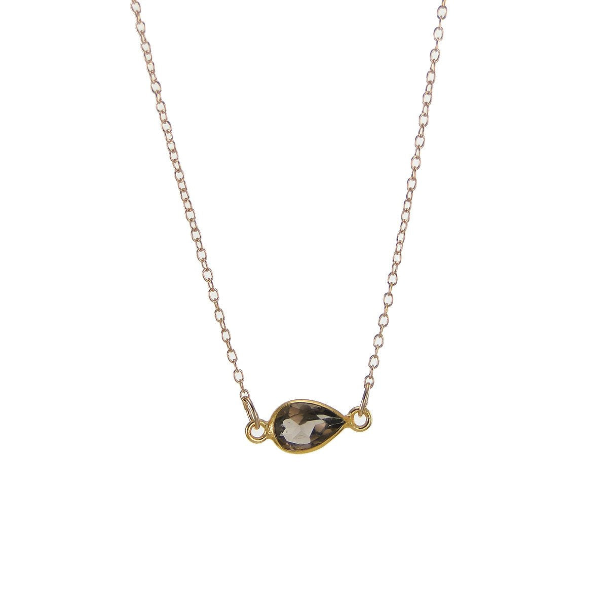 Smoky Quartz Delicate Gem Necklace - Tiny Stone Layered Necklace - Little Dainty 14K Gold Filled Necklace