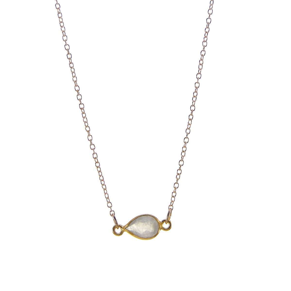 Rainbow Moostone Delicate Gem Necklace - Tiny Stone Layered Necklace - Little Dainty 14K Gold Filled Necklace
