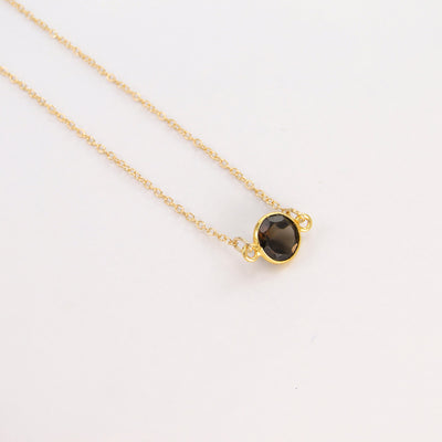 Smoky Quartz Delicate  Necklace, Brown Gemstone Necklace, Birthstone Necklace, Tiny Stone Layered Necklace, Dainty 14K Gold Filled Necklace