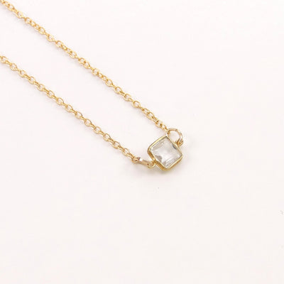 Crystal Quartz Necklace - Floating Diamond Necklace - Delicate Gem Necklace - Gemstone Necklace - Little Dainty 14K Gold Filled Necklace