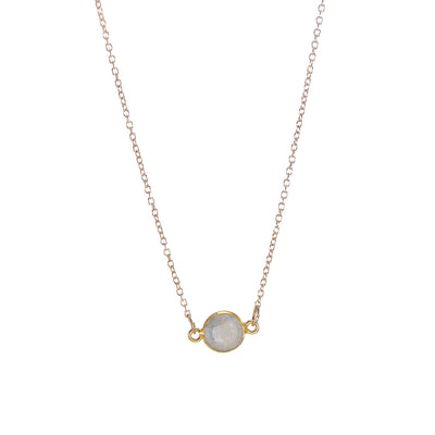 Moonstone Delicate Gemstone Necklace - Tiny Gemstone Necklace - Faceted Stone Jewelry Necklace - Little Dainty 14K Gold Filled Necklace