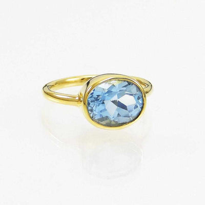 Blue Topaz Ring - Oval Ring - Bezel set ring - November Birthstone Ring - Gemstone Ring - Stacking Ring - Gold Ring - Bridesmaid Ring