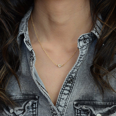 Crystal Clear Quartz Necklace - Floating diamond necklace - Delicate Gem Necklace - Tiny Stone Layered Necklace