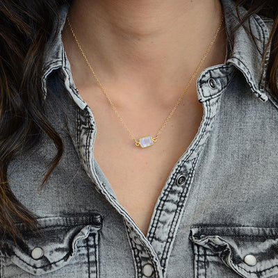 Delicate Gemstone Necklace - Moonstone Gold Filled- Tiny Stone Layered Necklace - Faceted Jewelry - Little Dainty Necklace - Cute Necklace