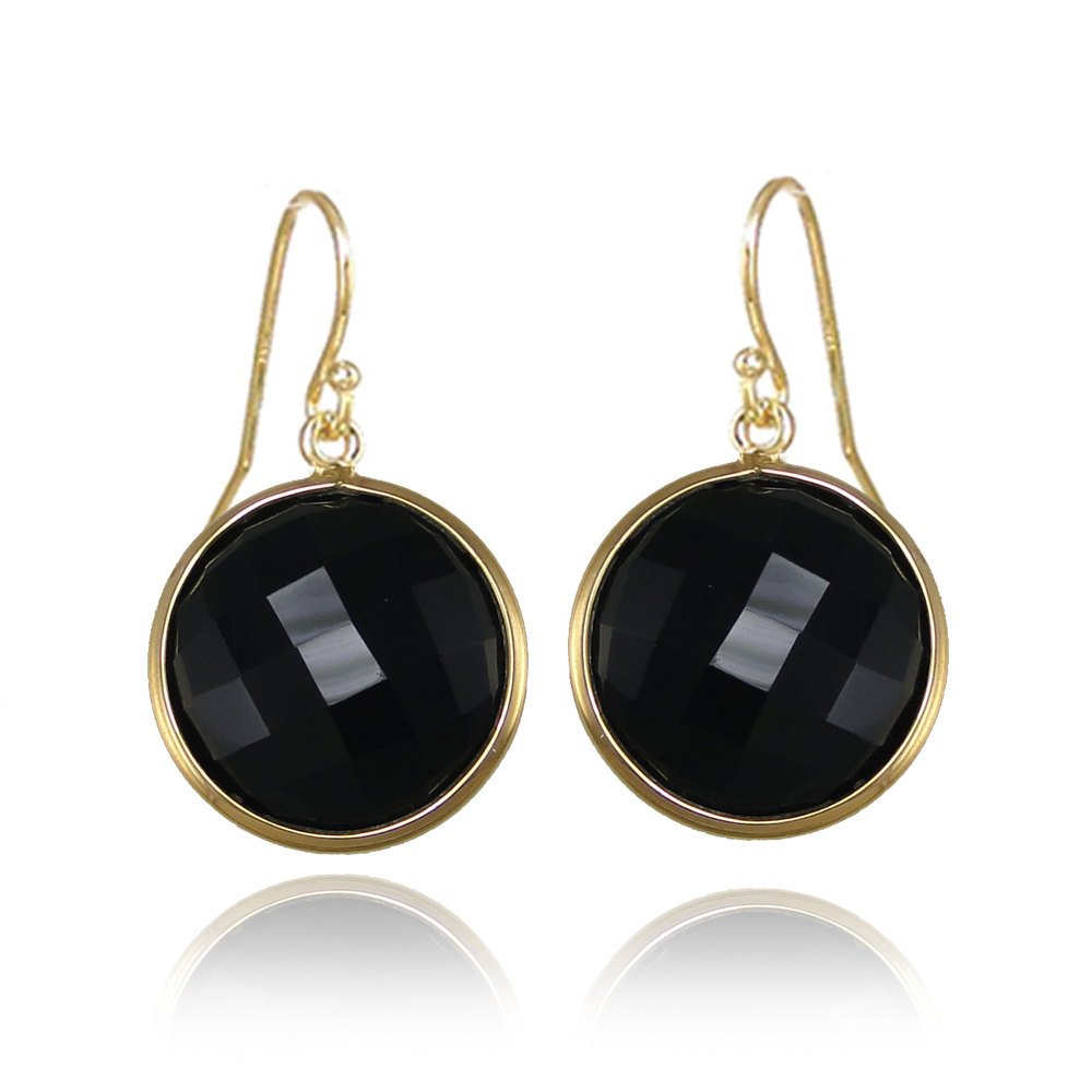 Black Onyx earrings - Gemstone earrings - gold round earrings - Black and gold Earrings - Statement Earrings - Circular Earrings - Mom Gift