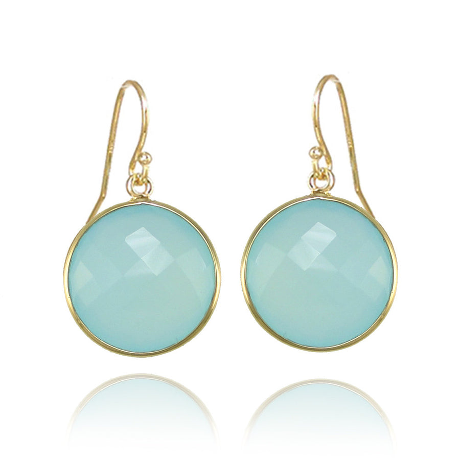 Aqua Chalcedony earring, Sea Green Gold earring, Sterling Silver round earring, Bridesmaid Earring, Statement Earring,  Dangle, Womens Gifts