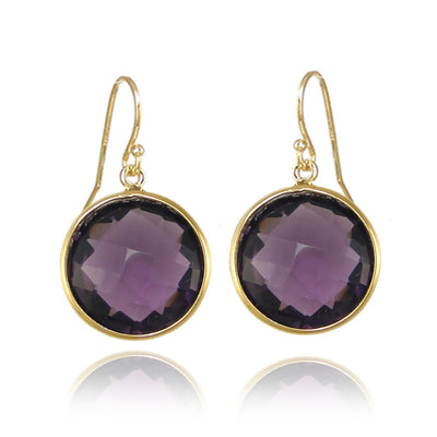 Purple Amethyst earring,  Purple Gemstone earring,  Gold round earring, Birthstone Earring, Silver Bezel set Earring, Bridesmaid Jewelry
