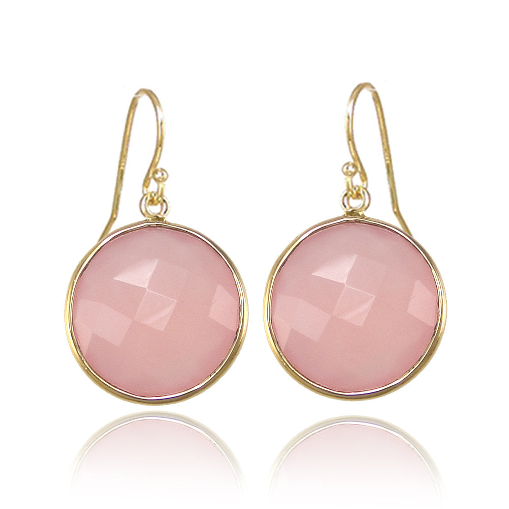 Pink Chalcedony earring - Silver Earring - Gemstone earring - gold round earring - Large Gemstone Earring - Statement Earring - Dangle drop