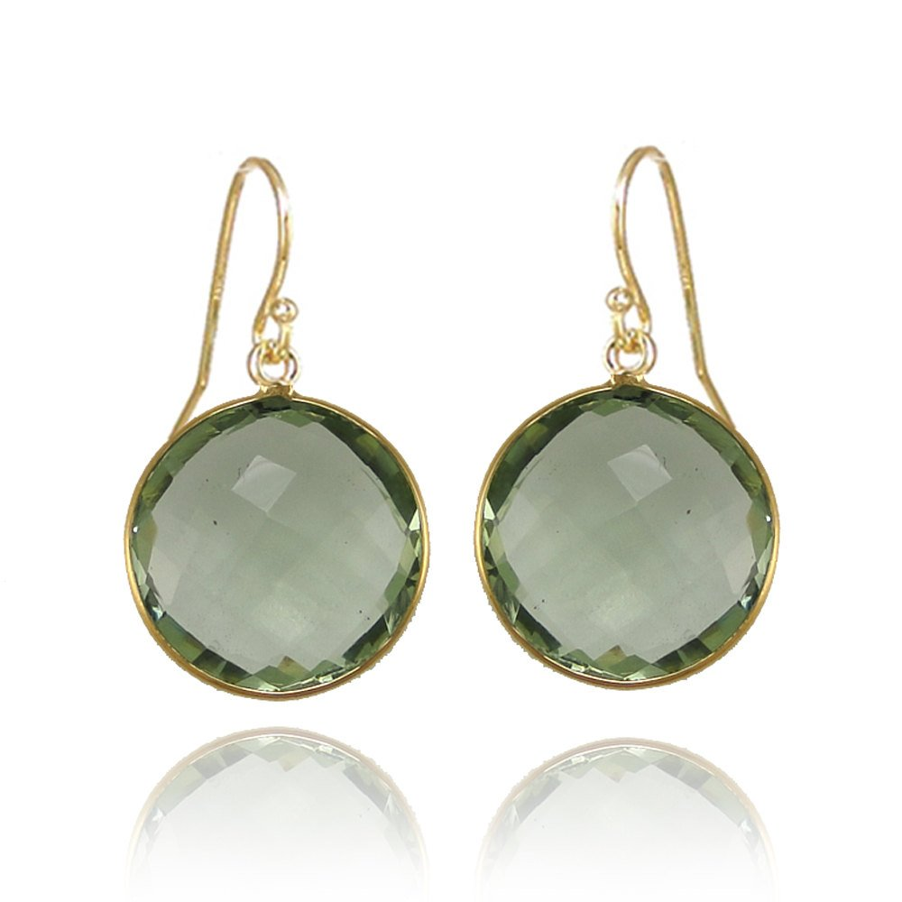 Green Amethyst earring - Drop and Dangle Earring - Large Gemstone Earring - Hypoallergenic earrings - gold round earring - Statement Earring