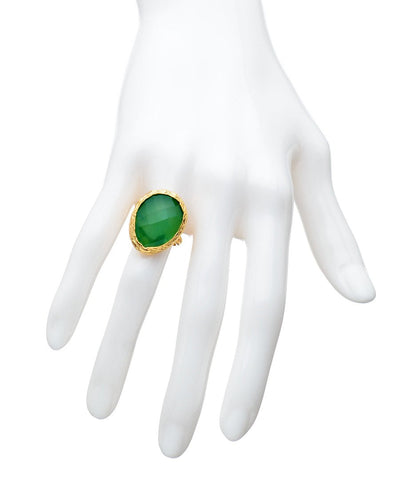 Green Onyx Ring - Green Emerald Onyx Ring - May Birthstone Ring - Big Gemstone Ring - Oval Ring - Big Stone Ring - Freeform ring