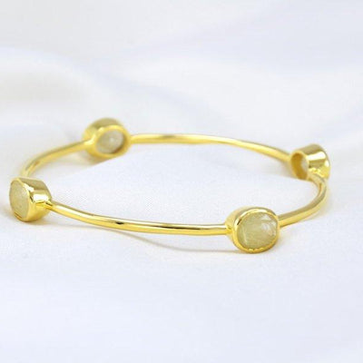 Golden Rutilated Quartz Bangle - Stackable Gemstone Bangles - Stacker Bangle - Gemstone Bangle Bracelet - Tourmalated Quartz Bangle