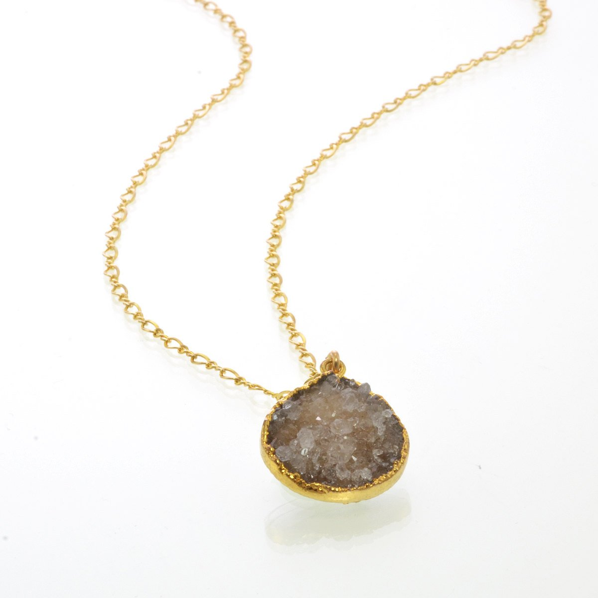 Druzy Necklace - Geode Necklace - Grey Druzy Necklaces - Tear Drop Necklace - Druzy Gold Filled Necklace - Genuine Simple Gemstone Necklace