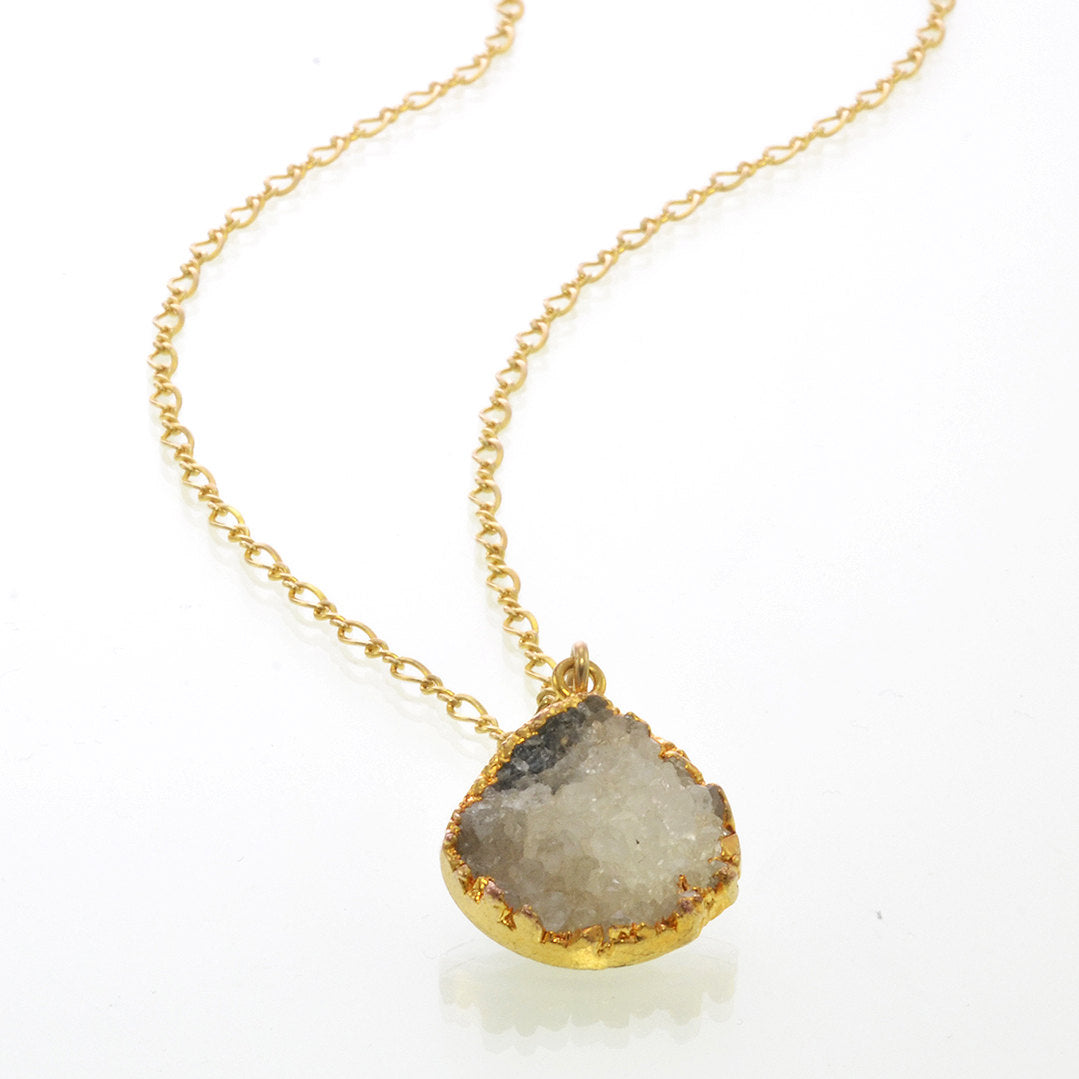 Druzy Necklace - Geode Necklace - Grey Druzy Necklaces - Tear Drop Necklace - Bridesmaid Necklace