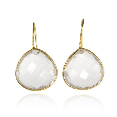 Clear Quartz Earring - Wedding Gemstone Earring - Elegant Simple Earring - Tear Drop Earring - Gold Framed Earring - Bridesmaid Earring