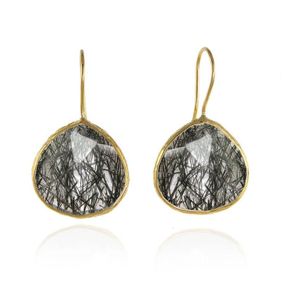 Black Rutilated Quartz Earring - Dangle and Drop Earring - Tear Drop Earrings - Large Gemstone Earrings - Bridesmaid Earrings