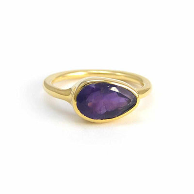 Amethyst Ring - Bezel set ring - February Birthstone Ring - Gold Ring - TearDrop Shaped Ring - Gemstone Ring - Stacking Ring