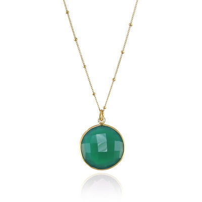 Green Onyx Necklace, Green Gemstone Charm Necklace, Satellite Chain Pendent Necklace, Bezel Set Necklace, Bridal Jewelry, Silver Necklace