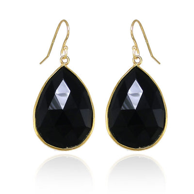 Black Onyx earring, Gift, Bezel Set Stones, Dangle and drop earring, Gemstone - Perfect earring Gift, Gold Black Earring, Pear Shape Earring