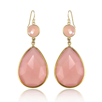 Pink Chalcedony Earring Birthstone Bezel set Earring Dangle and Drop Earring Tear Drop Earrings Large Gemstone Earrings Bridesmaid Earrings