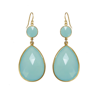 Aqua Chalcedony Earring, Dangle and Drop Earring, Sea Green Earring, Tear Drop Earring, Bridal Earring, Bridesmaid Earring, Large Gemstone