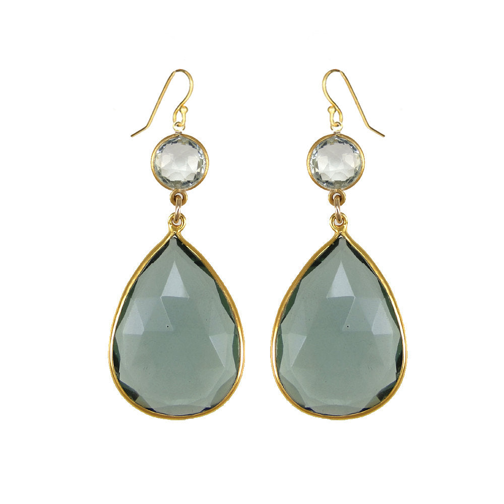 Green Amethyst Earring - Dangle and Drop Earring - Two tier earring - Large Gemstone Earrings - Bridesmaid Earrings