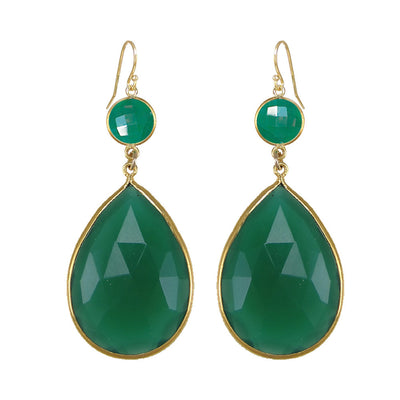 Two tier earring, Double dangle earring, Two Stone earring, Green emerald color earrings, Large Gemstone Earrings, Bridesmaid Earrings Onyx