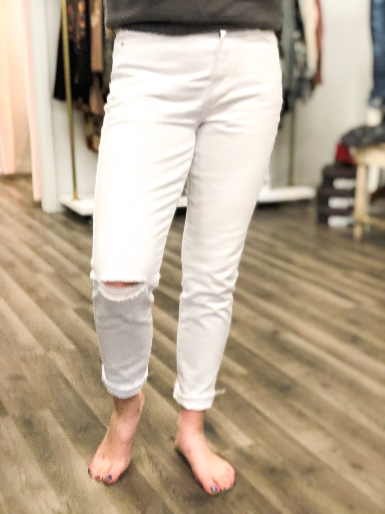 White High Rise Distressed Jeans Final Sale
