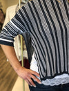 Navy Stripe Linen Blend Sweater W