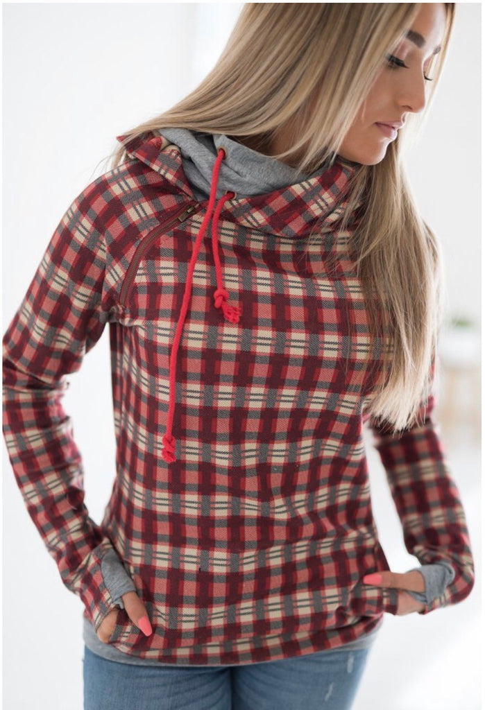 A&A Wrap It Up Plaid Doublehoodie
