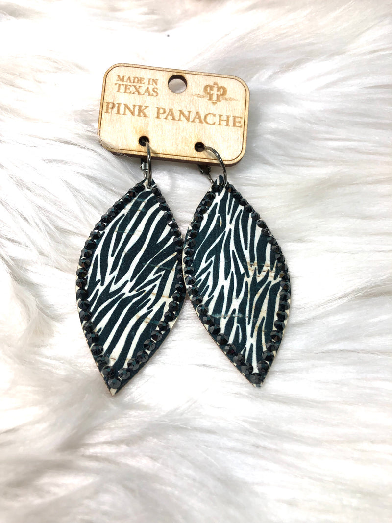 PP Zebra Bling Leaf Earrings