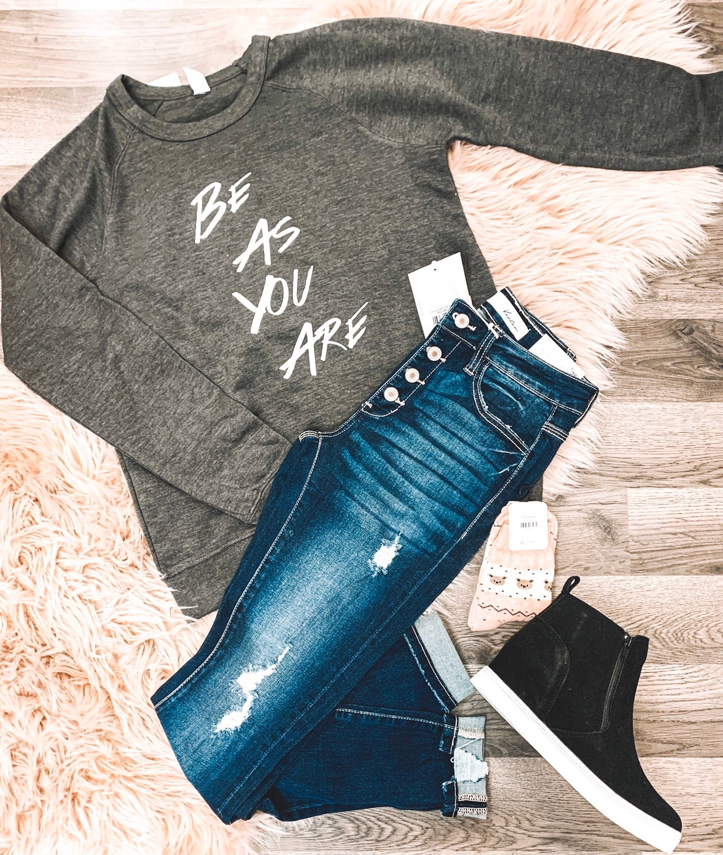 BE AS YOU ARE French Terry Raglan Top