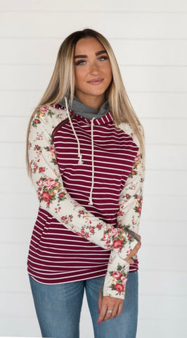A&A Maroon Stripe & Floral Doublehoodie