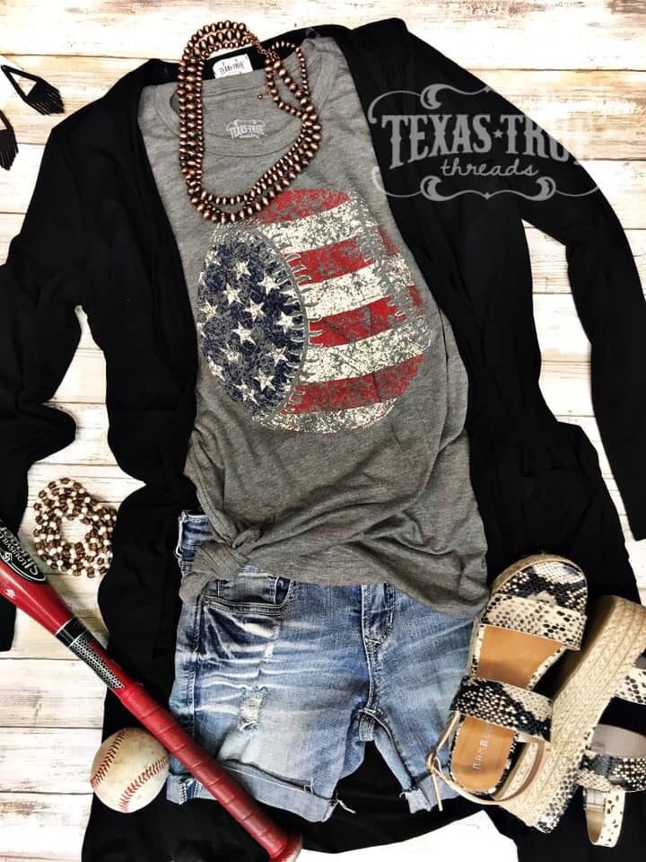 Red White Blue Baseball Tee