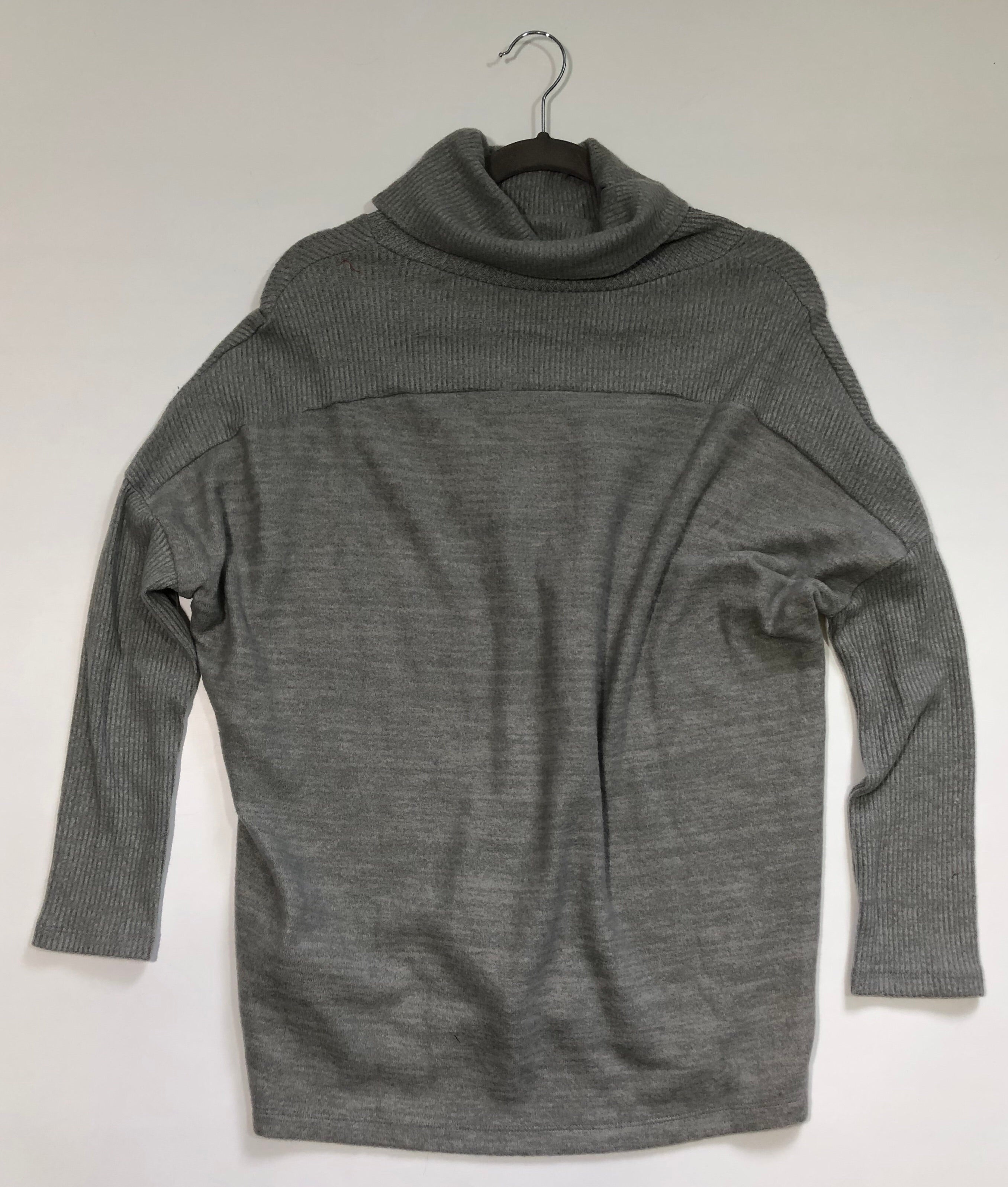 Button Cowl Lt Grey Sweater Top