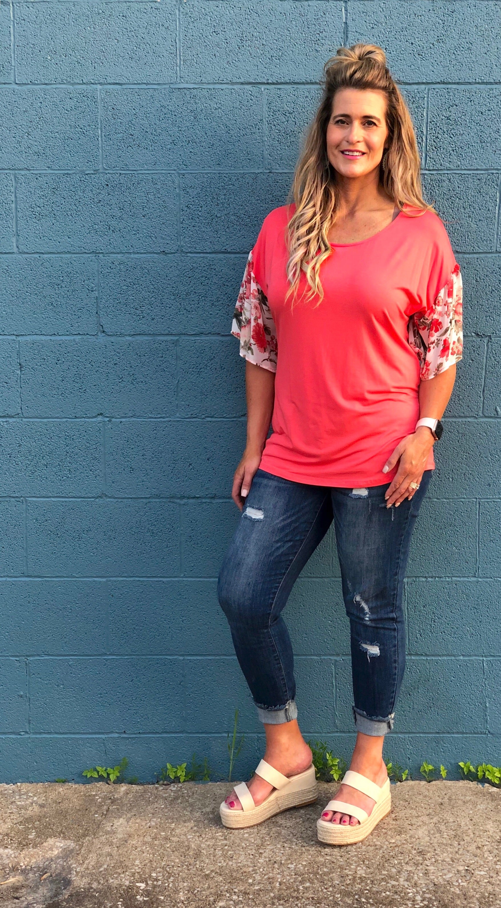 Curvy Coral All Over Top-Final Sale