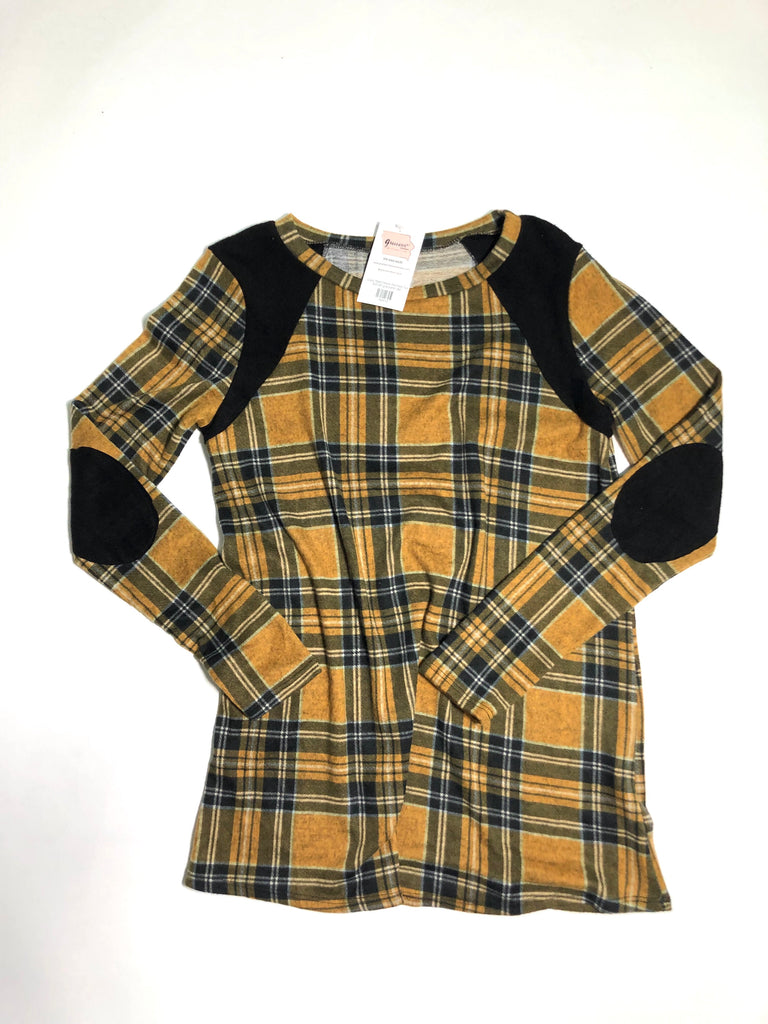 Cozy Plaid Elbow Patched Top