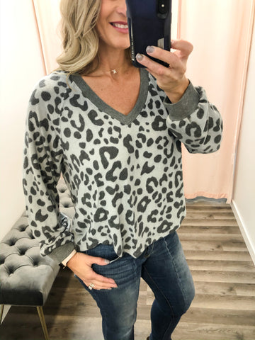 Brushed Animal Print Cozy Top